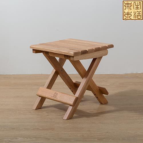 原木色红橡实木折叠凳