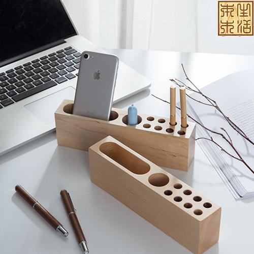 软枫木桌面创意笔筒