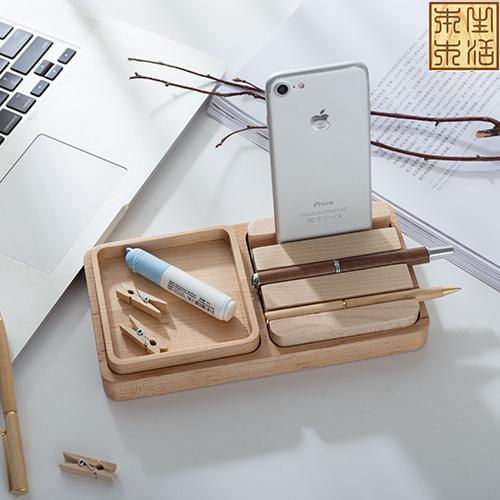 美国硬枫 桌面多功能2格组盒套装